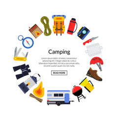flat style camping elements vector image