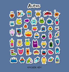 Funny aliens sticker set for your design vector