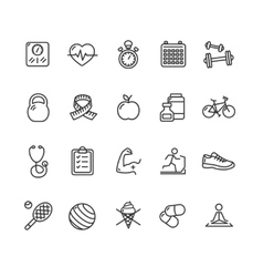 Fytness Health Outline Icon Set vector image