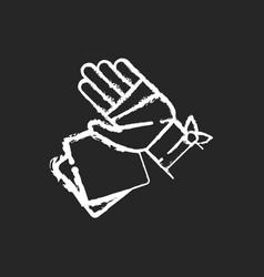 gauze bandages and pads chalk white icon on black vector image