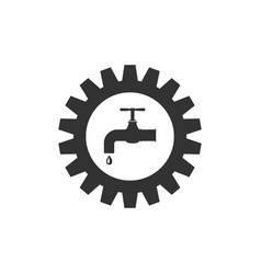 Gearwheel with tap icon isolated plumbing work vector