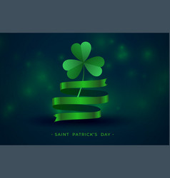 green clover leaf with ribbon st patricks vector image