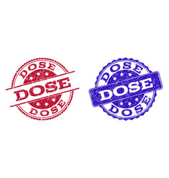 Grunge scratched dose seal stamps vector