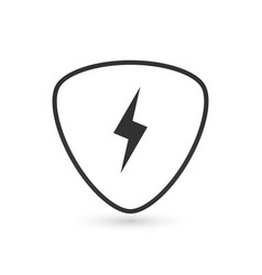 Guitar pick and lightning icon isolated on white vector