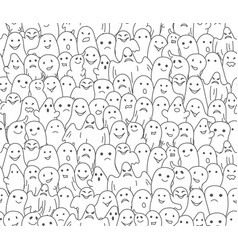 halloween background seamless pattern with ghosts vector image
