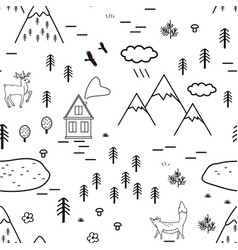 hand drawn scandinavian landscape with animals vector image