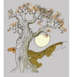 Hand drawn tree symbol isolated vector