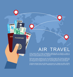 hand holding airline tickets and passports air vector image