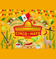 happy cinco de mayo mexican fiesta celebration vector image