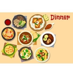 Healthy dinner icon for cafe menu design vector image