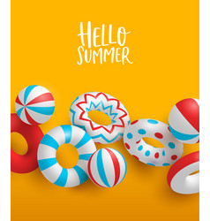 hello summer colorful card 3d lifesavers and vector image
