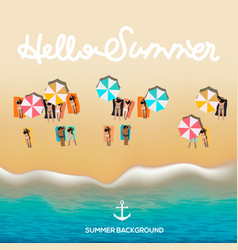 Hello summer poster beach with waves umbrellas vector