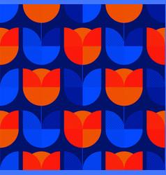 Holland blue and orange tulip flower tile pattern vector