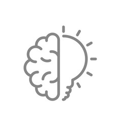 human brain with light bulb line icon creative vector image