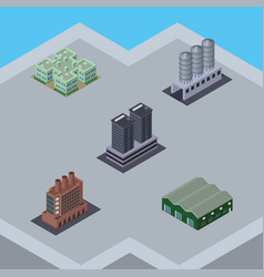 Isometric architecture set of tower industry vector