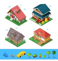 Isometric Rural Cottage Building House Set vector image