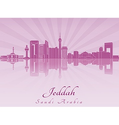 Jeddah skyline in purple radiant orchid vector