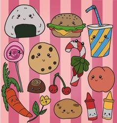 kawaii food vector image vector image