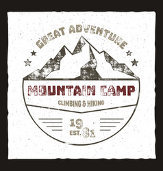 Mountain camp poster outdoor adventures logo vector