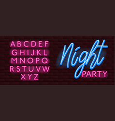 neon banner alphabet font bricks wall night party vector image
