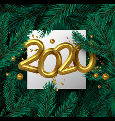 new year 2020 gold 3d number on pine tree leaf vector image