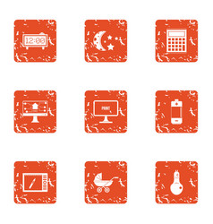 Nocturnal icons set grunge style vector
