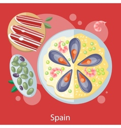 Paella traditional Spanish meal vector image