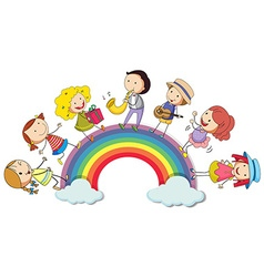 People standing over the rainbow vector image