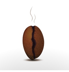 photorealistic coffee bean with smoke isolated on vector image
