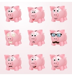 Piggy bank emotions vector image