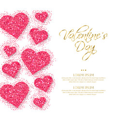 pink glitter hearts valentine day romantic vector image