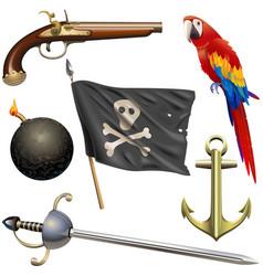 Pirate accessories set vector
