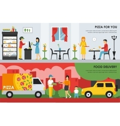 Pizza for you and food delivery flat concept web vector