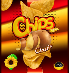 Potato chips design packaging 3d template vector
