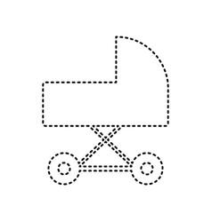 pram sign black dashed icon vector image