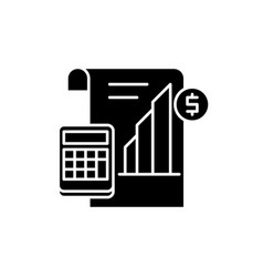 profit report black icon sign on isolated vector image