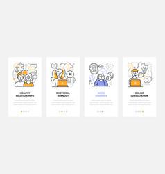 Psychology - modern line design style web banners vector