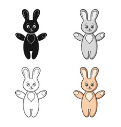 Rabbit toy icon in cartoon style isolated on white vector