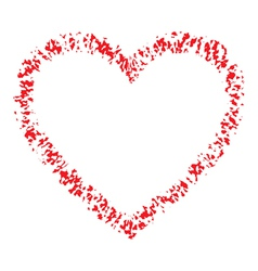 Red Hand Drawn Contour Thin Grunge Heart vector