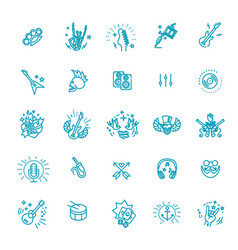 rock and roll line icon set icons vector image