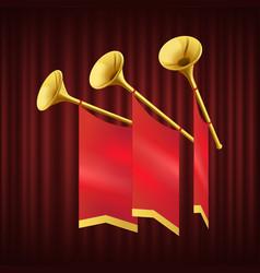Royal gold trumpet musical instrument vector