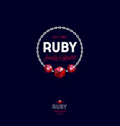 Ruby logo crystals chain premium jewelry emblem vector