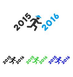 Run to 2016 year flat icon vector