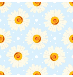 Seamless chamomile pattern on blue background vector