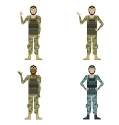 set mylitary men vector image