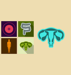 Set of medecine icons in flat style with shadow vector
