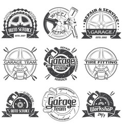 Set of nine garage logo vector
