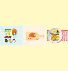set of salmon steak recipe vector image