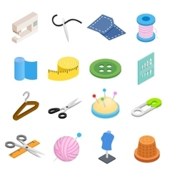 Sewing isometric 3d icon vector