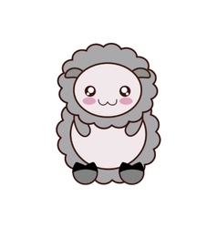 Sheep kawaii cute animal icon vector